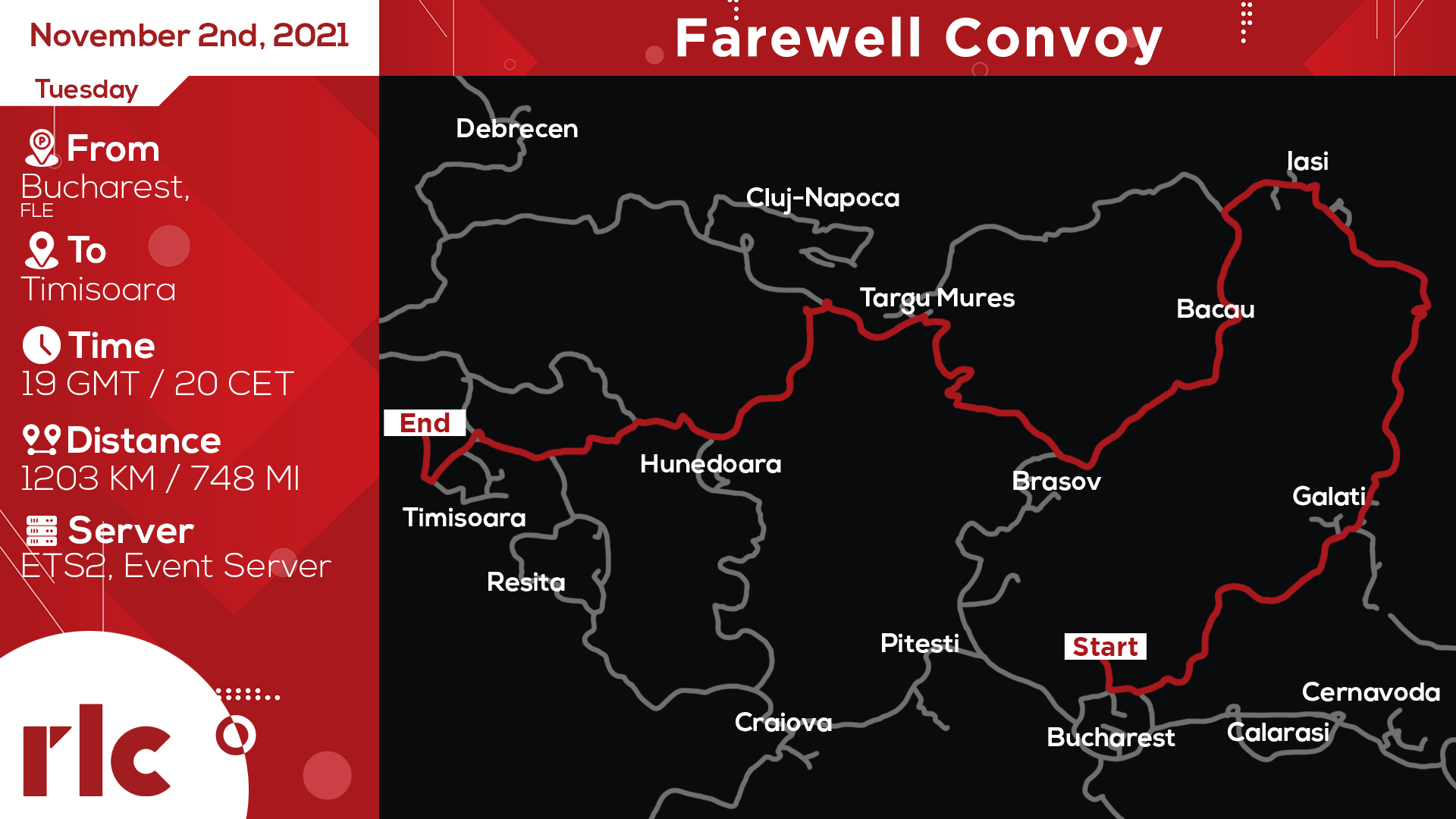 RLC Farewell Convoy Route Map